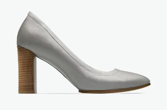 Grace Eva, grey/blue leather high heels