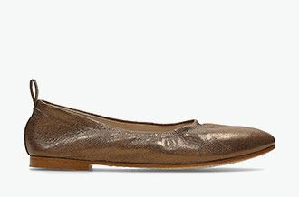Grace Mia, leather ballerinas in bronze metallic