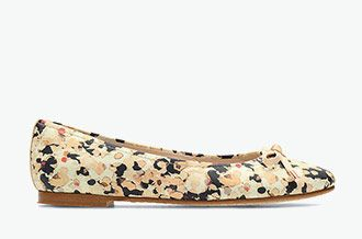 Grace Lily, leather ballerinas with floral print