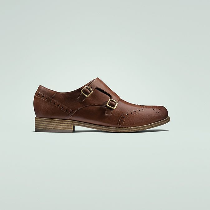 Zyris Vienna, womens brogues in Dark Tan leather