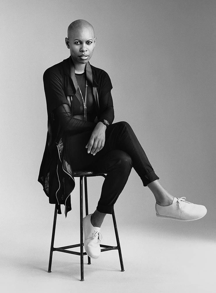 Skin from Skunk Anansie sitting on stool