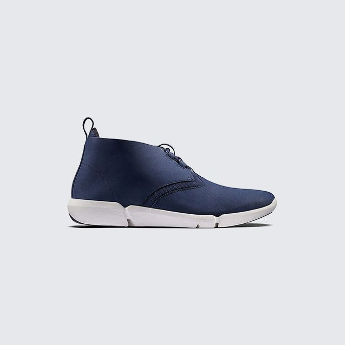 Triflow Mid, men's trainers in blue nubuck (detail)
