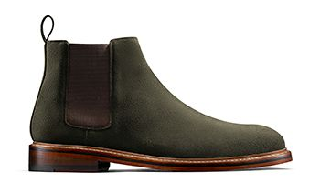 Somerville Hi Mens Dress Shoe in Olive Suede
