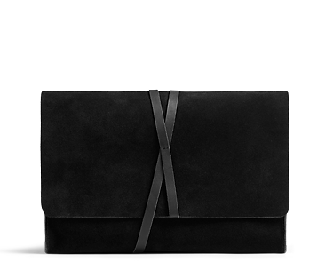 Jiving Duo, schwarze Clutch-Bag aus Premium-Veloursleder
