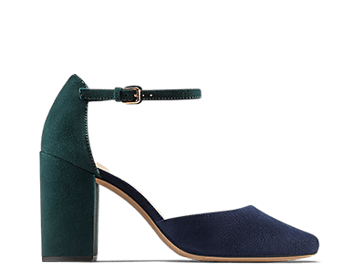 Amabel Tango, heeled sandals in navy and teal suede