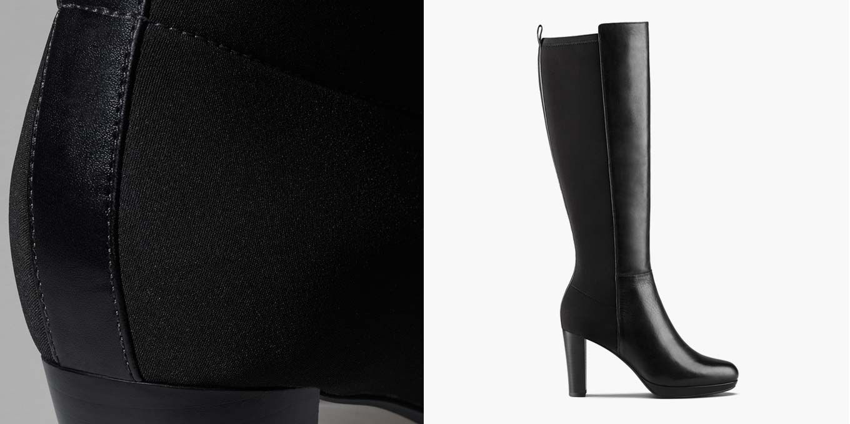 Kendra Glove, schwarze kniehohe Leder-Stiefel für Damen | Clarks.de