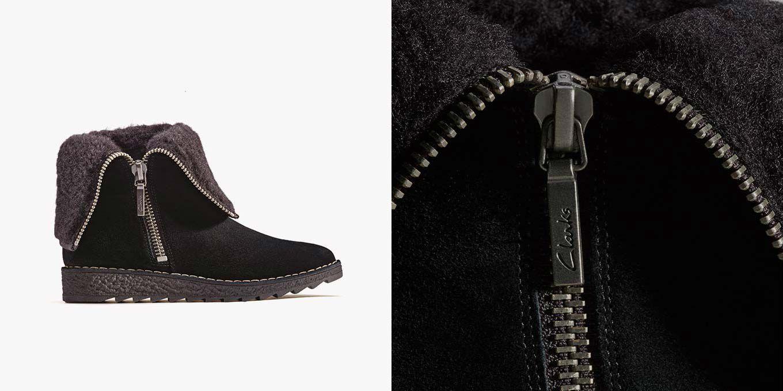 Olso Beth, schwarze Wildleder-Stiefel für Damen mit Innenfutter aus Wolle | Clarks.de