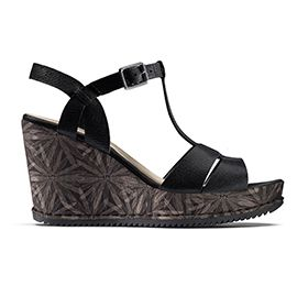 Adesha River, black leather wedge sandals