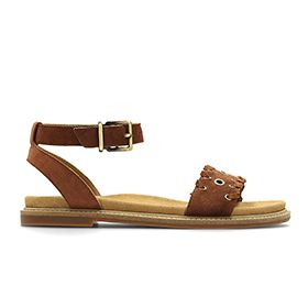 Corsio Amelia, flat sandals in dark tan