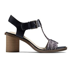 Glacier Ray, heeled sandals in navy combi