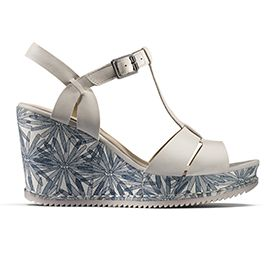 Adesha River, white leather wedge sandals