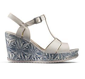 Adesha River, sandales compensées en cuir blanc