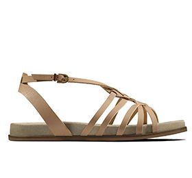 Agean Art, flat strappy sandals in nude leather