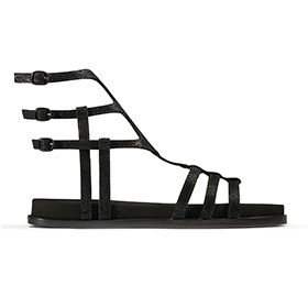 Agean Tide, black leather gladiator sandals