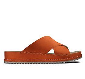 Alderlake Lily, flat sandals in orange nubuck