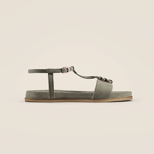 Agean Cool, flat sandals in sage suede