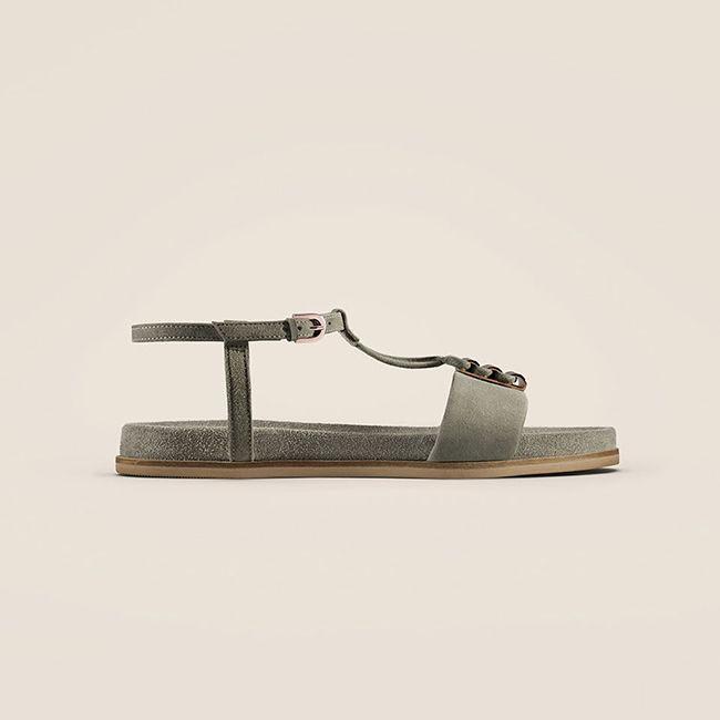 Clarks Agean Cool, sandales plates pour Femme en daim vert sauge