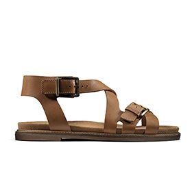 Corsio Bambi, sandales plates pour Femme en cuir brun clair