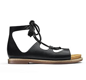 Corsio Dallas, women's laceup sandals in black leather