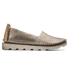 Damara Chic, leren slip-ons in goud-metallic