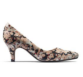 Idamarie Faye, zapatos de tacón en cuero estampado floral