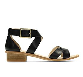 Sandcastle Ray, heeled black leather sandals