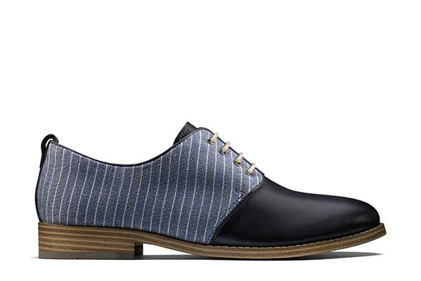 Zyris Toledo, womens laceups in navy leather and textile