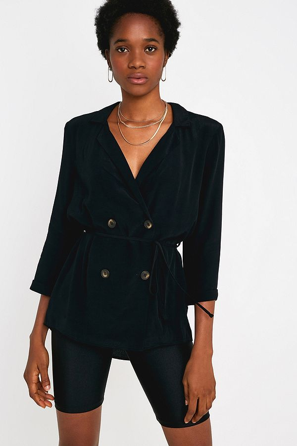 Urban Outfitters – Zweireihige, Weiche Bluse In Schwarz by Urban Outfitters Shoppen