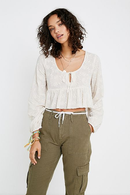 8d4307cc33d UO Florence Embroidered Ruffle Cropped Top