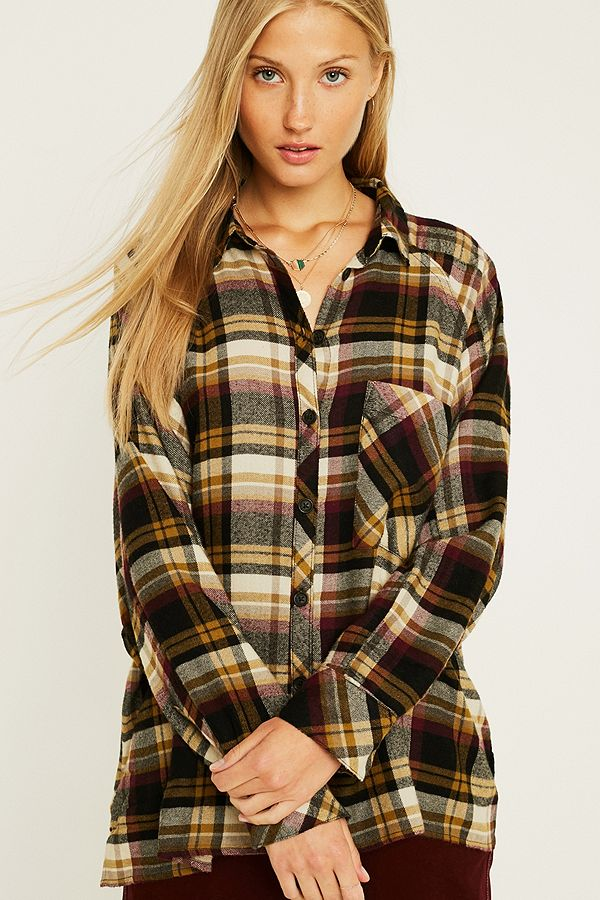 8b91647b UO Brendan Beige Drapey Flannel Button-Through Shirt | Urban ...