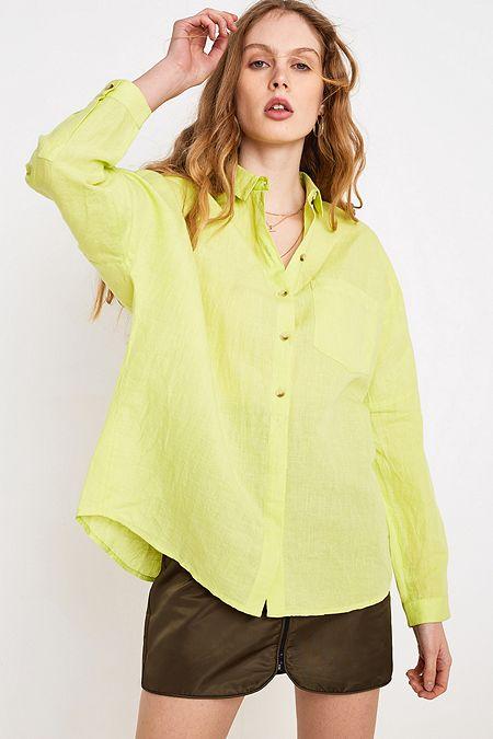 1e0913a765 UO Lime Linen Button-Through Shirt