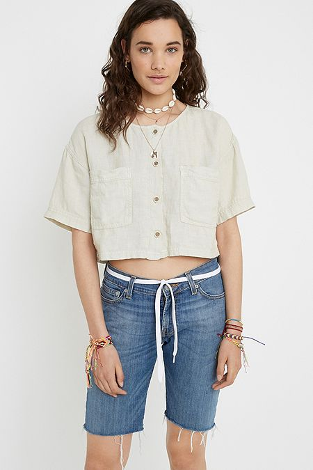 b9ff1275d89 UO Leo Linen Cropped Button-Through Blouse