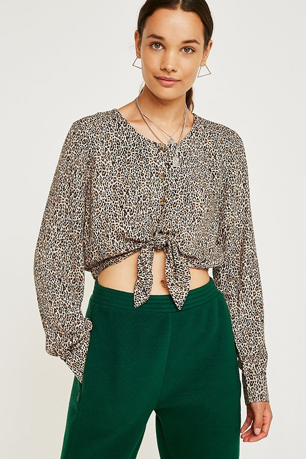 faee5e44537 UO Leopard Print Button-Through Blouse