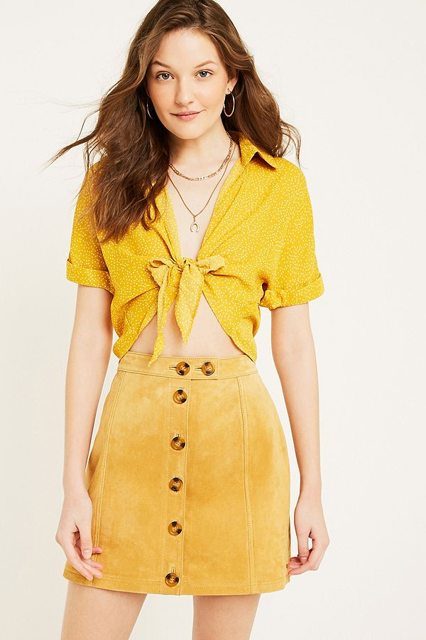 6363a43dd8737b UO Yellow Dotted Tie-Front Blouse
