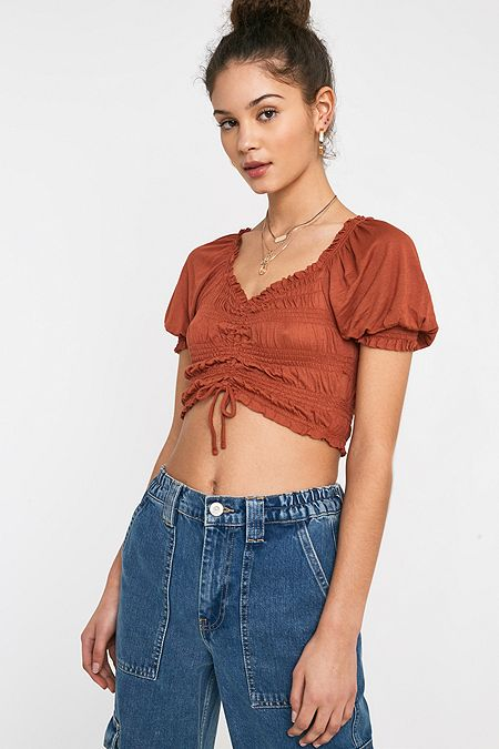 4fd52d3d68cce UO Shay Cinched Puff Sleeve Cropped Top