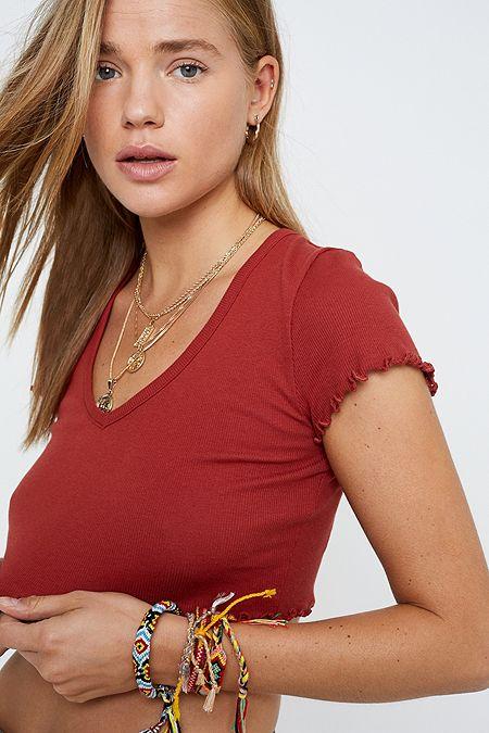 38f048f5f5353 UO Lettuce Edge Crop T-Shirt