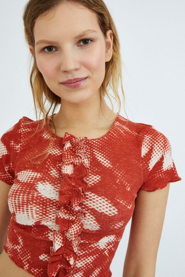 UO Cala Red Floral Print Ruffle Top