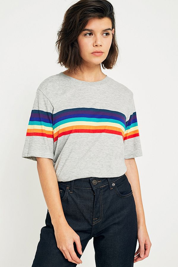 c1af936039 UO Rainbow Striped Sleeve T-Shirt | Urban Outfitters UK