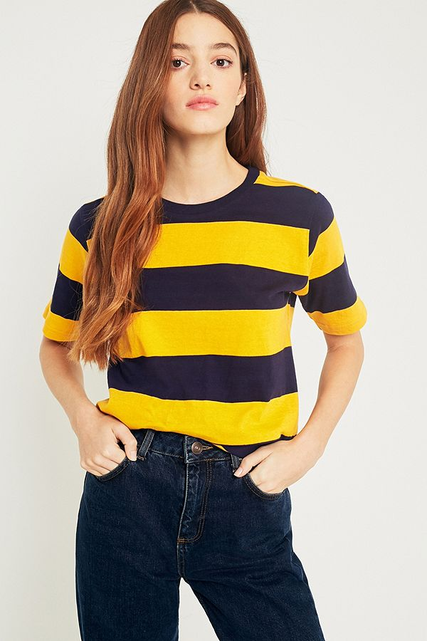 572a5b7dc4 UO Rugby Yellow-and-Navy Striped T-Shirt | Urban Outfitters UK