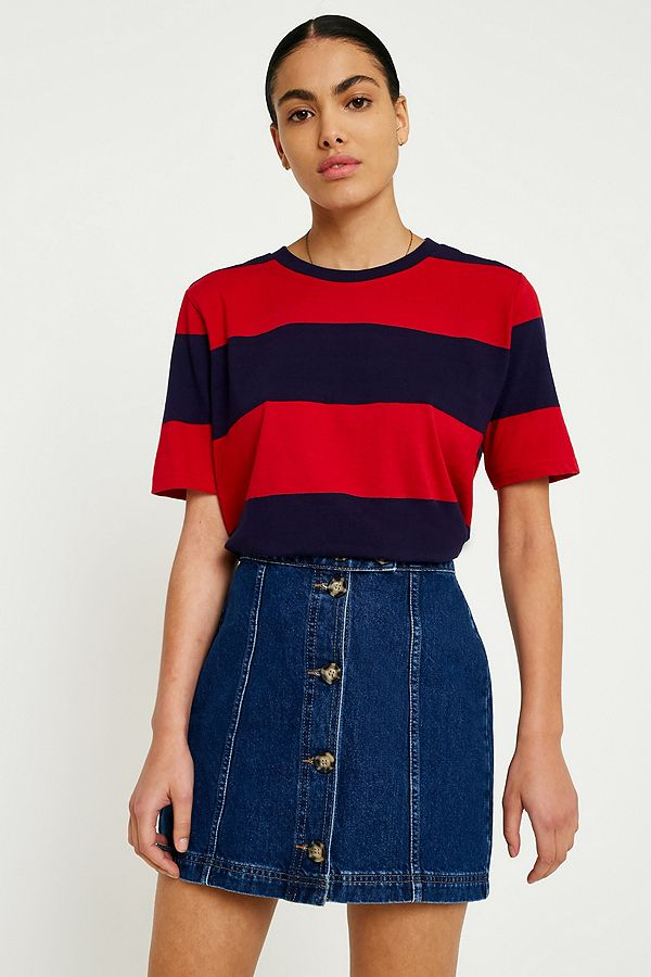 7405e3d73a UO Navy and Burgundy Bold Striped T-Shirt | Urban Outfitters UK