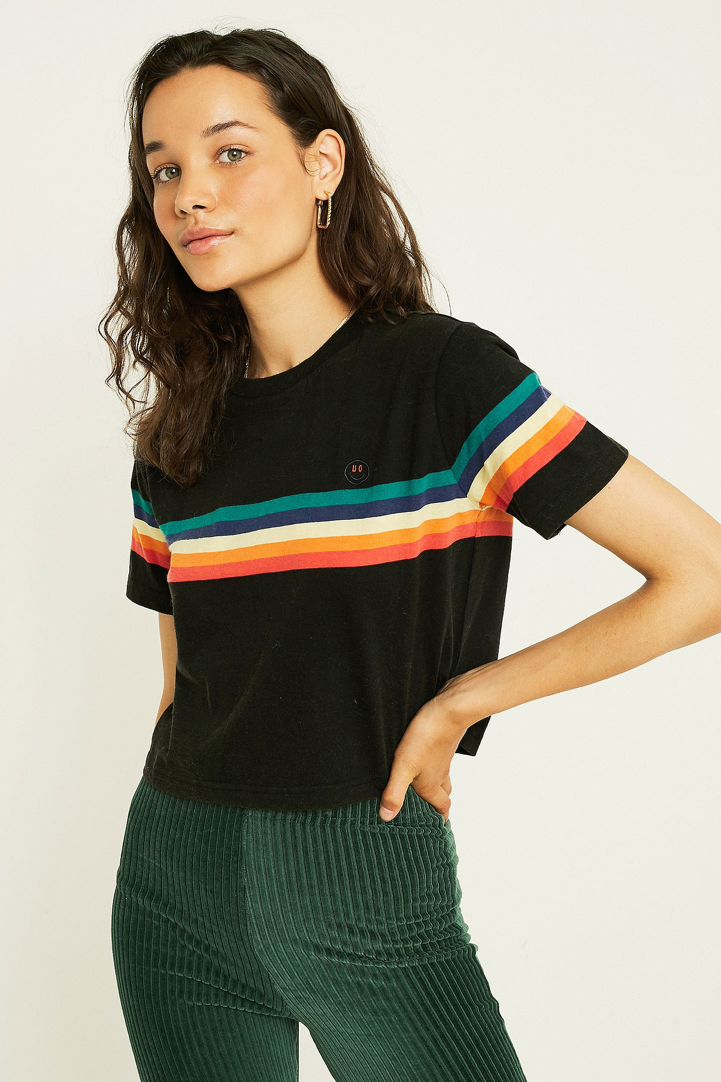 8115b3905b UO Rainbow Stripe Black Short-Sleeve Crop T-Shirt | Urban Outfitters UK