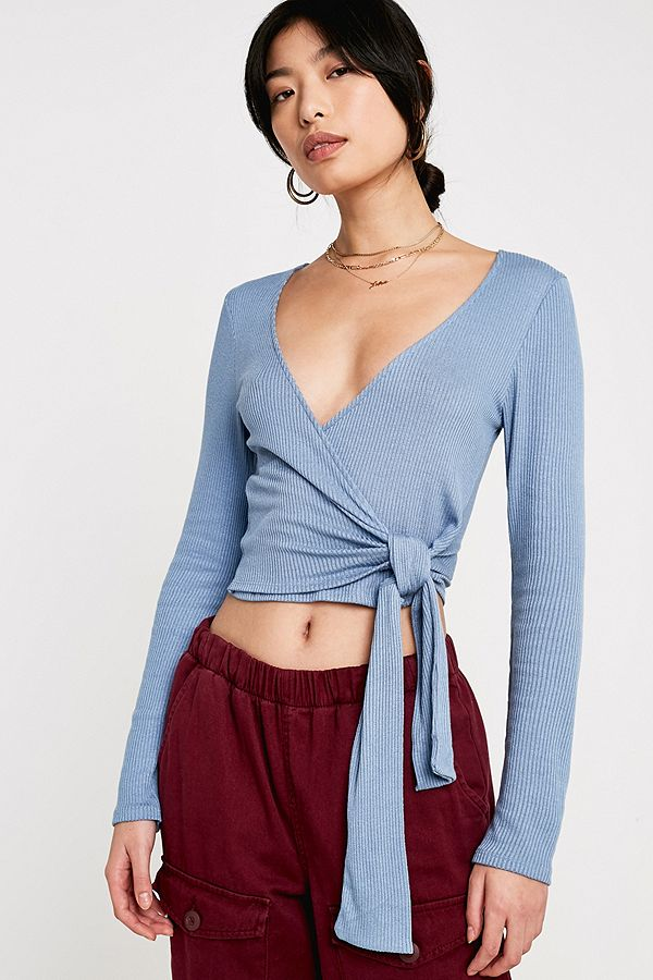 e68ba807625 UO Blue Ballet Wrap Top | Urban Outfitters UK