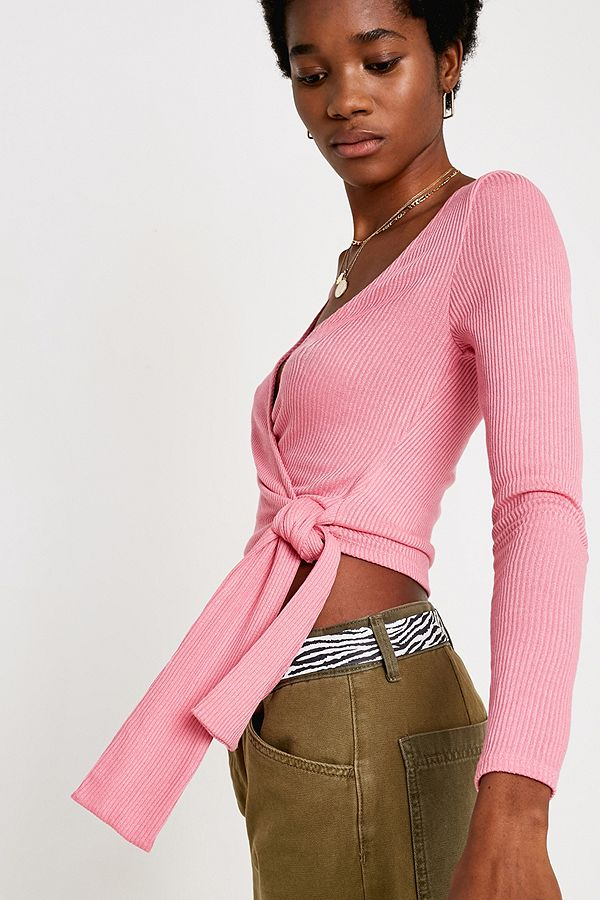 c60df322cdfb7 UO Bailey Pink Long-Sleeve Wrap Top