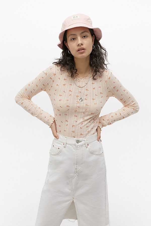 Slide View: 3: UO Ditsy Floral Pointelle Long-Sleeve Top