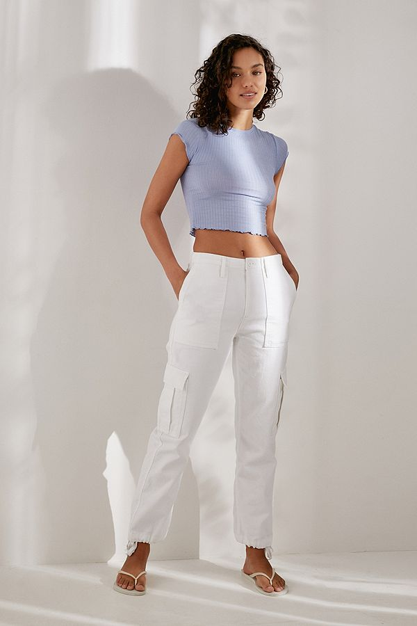 c0d60f4076a44 Slide View  4  Out From Under Lindsey Ribbed Lettuce-Edge Cropped T-