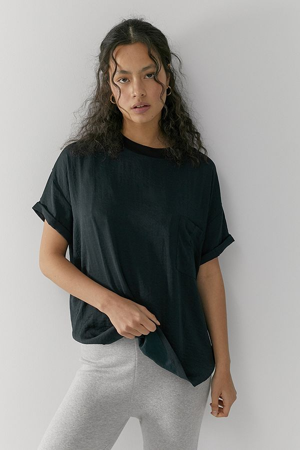 Out From Under Silky Oversized Pocket T Shirt by Out From Under