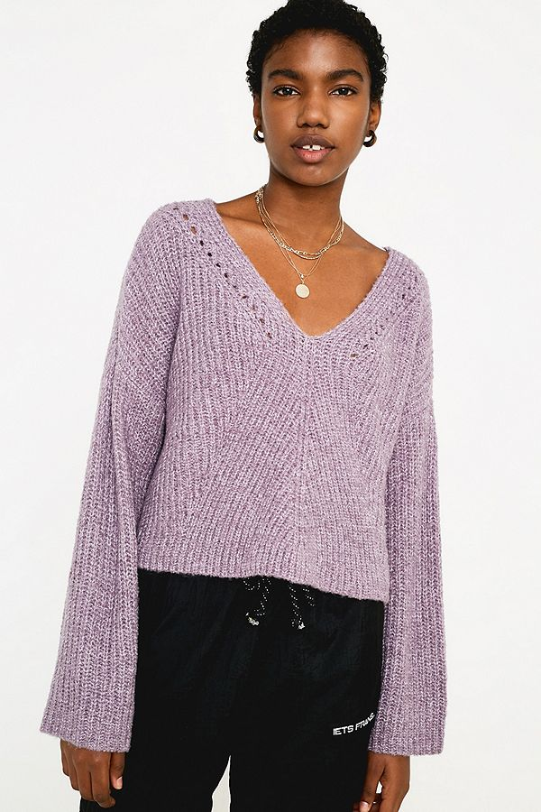 7de81785a121 UO Slouchy Fisherman V-Neck Jumper