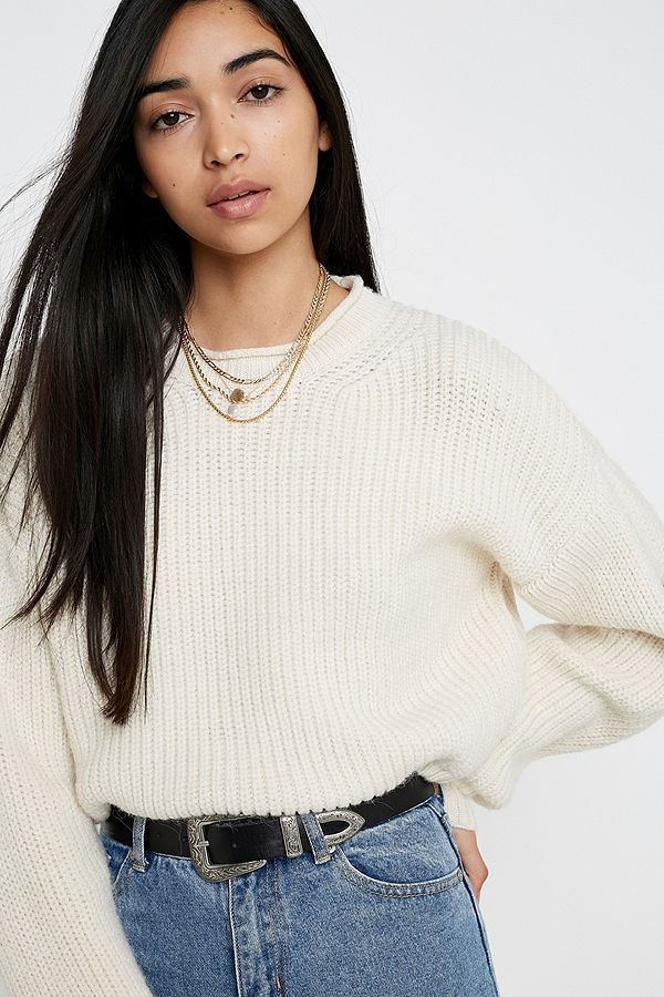 Uo Fisherman Knit Crop Jumper by Urban Outfitters
