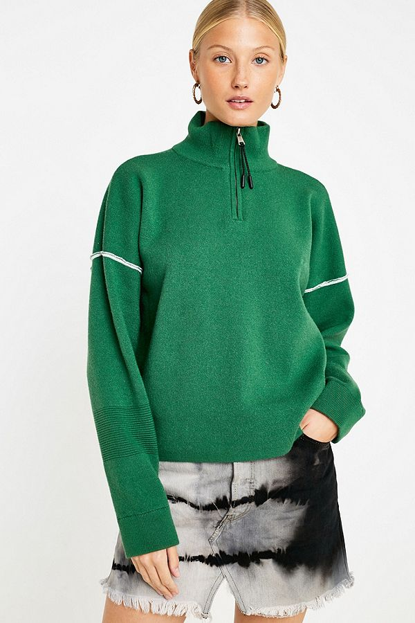 eb688347774 UO Green Half-Zip Funnel Neck Jumper