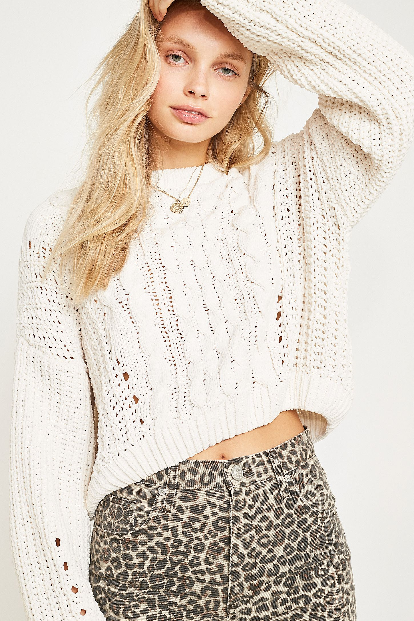 48d536210cd UO Cable Knit Chenille Jumper